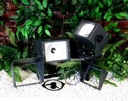 An image of black cube lights lying on a stone pebble floor in front of a green plant
