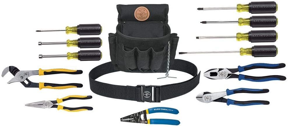 A hardware tool set with case for electricians with screw drivers, magnetic tip driver, pliers, wrenches and a case