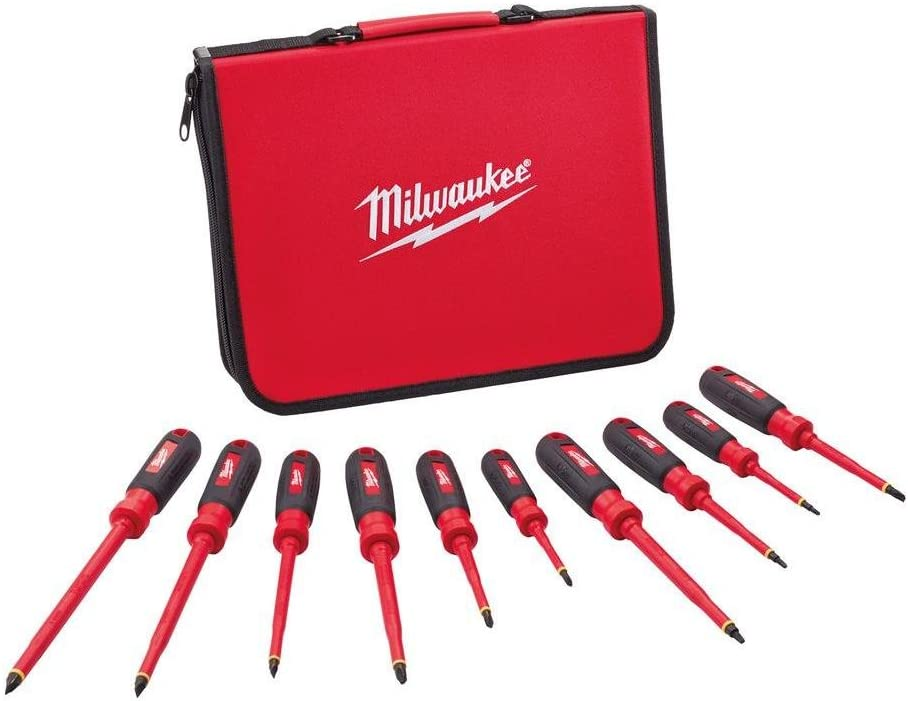 A milwuakee 10 piece insulated screwdriver set with carrying case