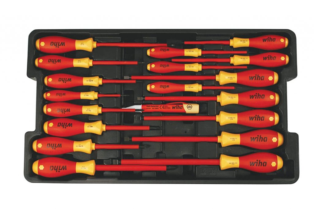 A Wiha Insulated Screwdriver set with nineteen pieces